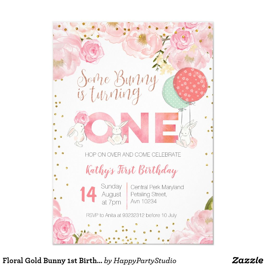 Floral Gold Bunny 1st Birthday Floral Invitation Zazzle