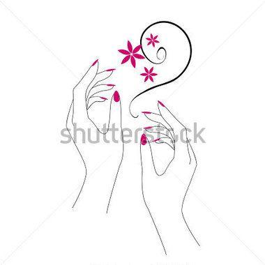 lady hand holding a nail polish brush silhouette cli[ art