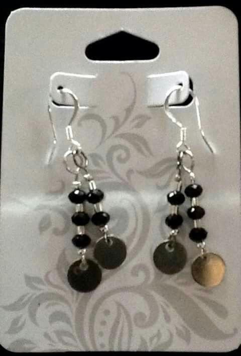 Simple Crystal And Sterling Spacer Design With Small Silver Dics And Hung On Silver Plated Earwires Handmade Jewelry Earrings Drop Earrings