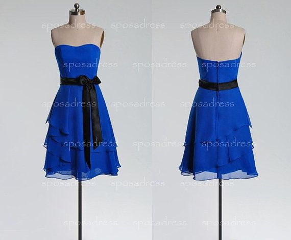 short bridesmaid dress cheap bridesmaid dress blue by sposadress, $119.00