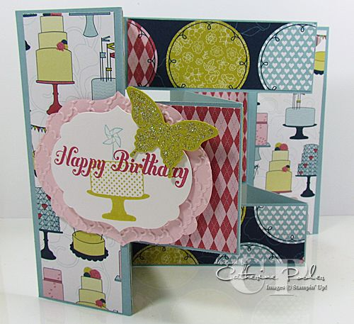 Catherine Pooler: Creativity Grows Here – Tri Shutter Fold Card – 10/12/12.  (SU: Make a Cake, Bring on the Cake Stamp, Papillion Potpourri Stamps; Patio Party dsp)