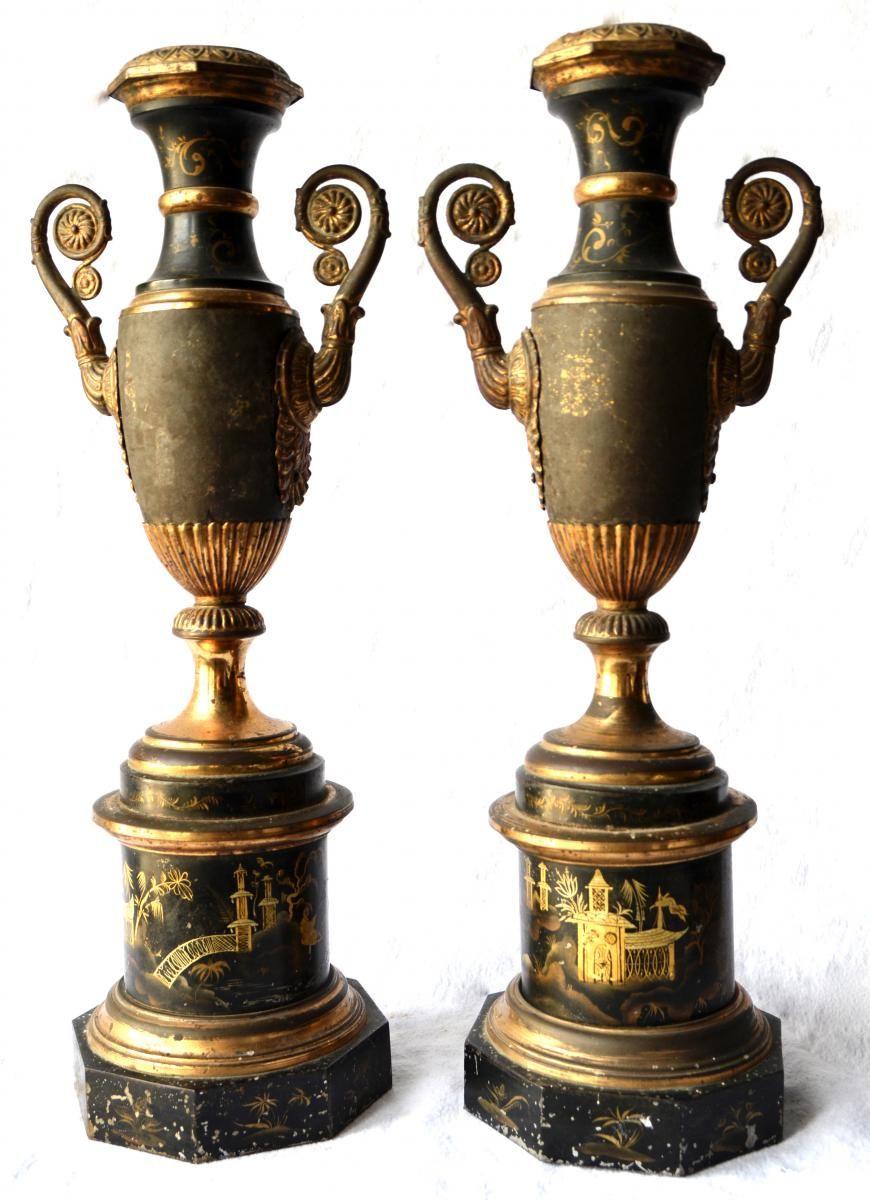 Sheet Metal Vases Pair Of Patinated Japonisant Decor, 1830, Fourrel de Frettes, Proantic