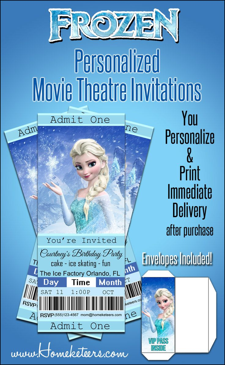 Personalized Frozen Movie Ticket Printable Invitations With