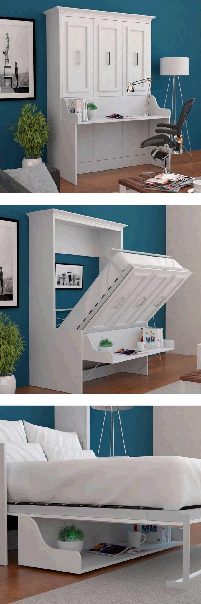 Bed Room Porter Full Portrait Wall Bed With Desk In White