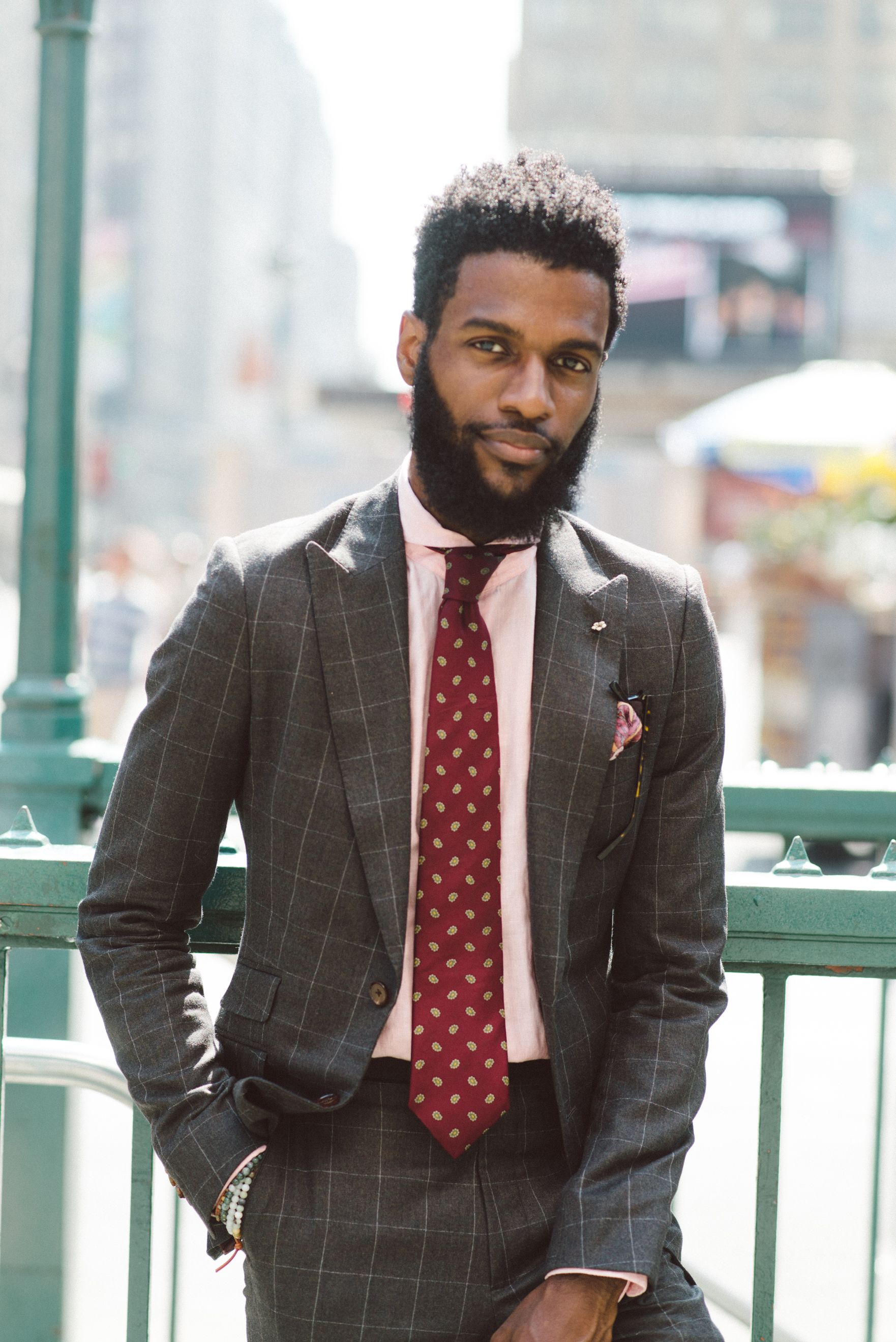Men's Brown Check Suit, Pink Dress Shirt, Burgundy Print Tie, Pink ...