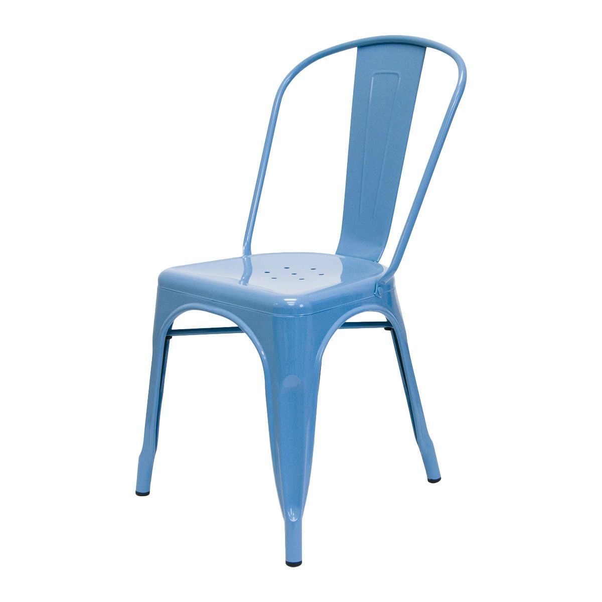 Set of 2 - Galvanized Steel Stacking Dining Side Chair Indoor Outdoor Blue Finish