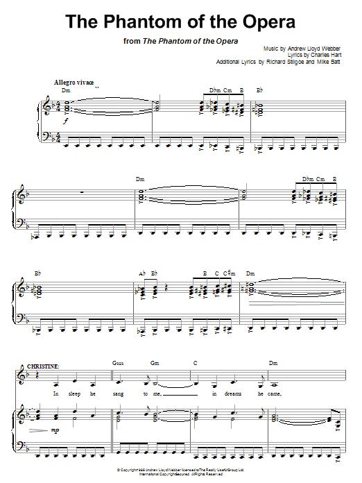 Andrew Lloyd Webber The Phantom Of The Opera Sheet Music Notes Chords Score Download Printable Pdf Piano Music Notes Phantom Of The Opera Opera Music