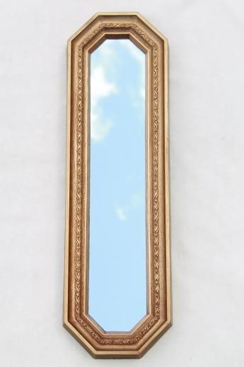 Trio Of Gold Framed Mirrors Vintage 60s Wall Art Set Long Narrow