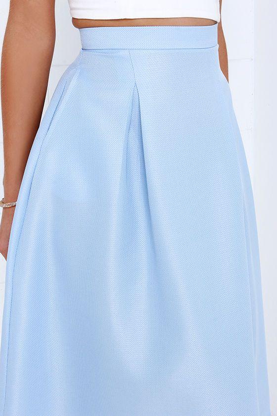 0b7d4bd0a Tiger Mist Bonnie Light Blue Midi Skirt | My Favorites | Midi Skirt ...
