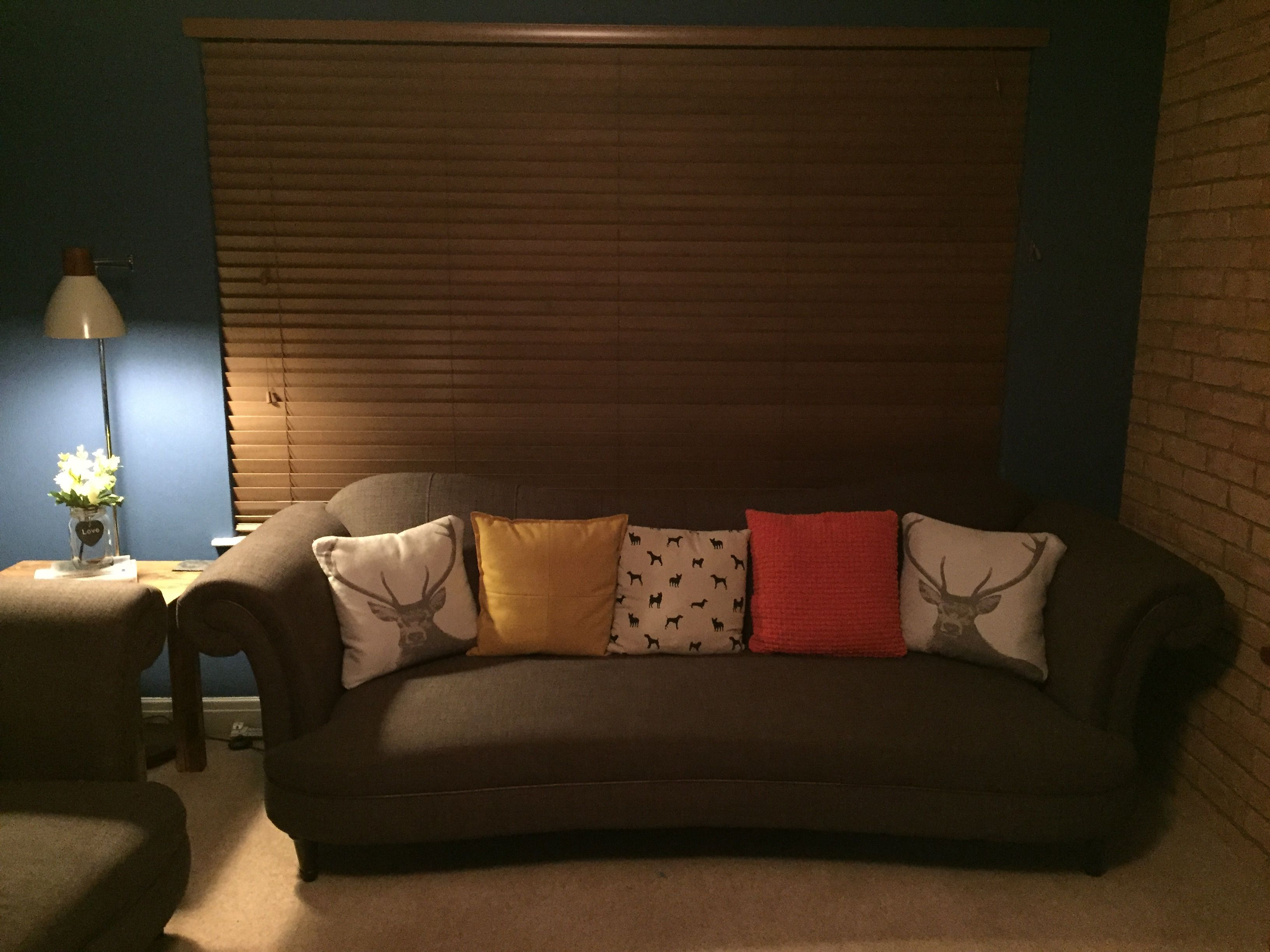 Blue Wall With Brown Sofa Mustard And Burnt Orange Ter Cushions Little Greene Woad Paint