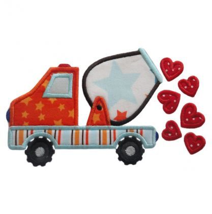 Cement Truck with Hearts Applique - Embroidery Boutique