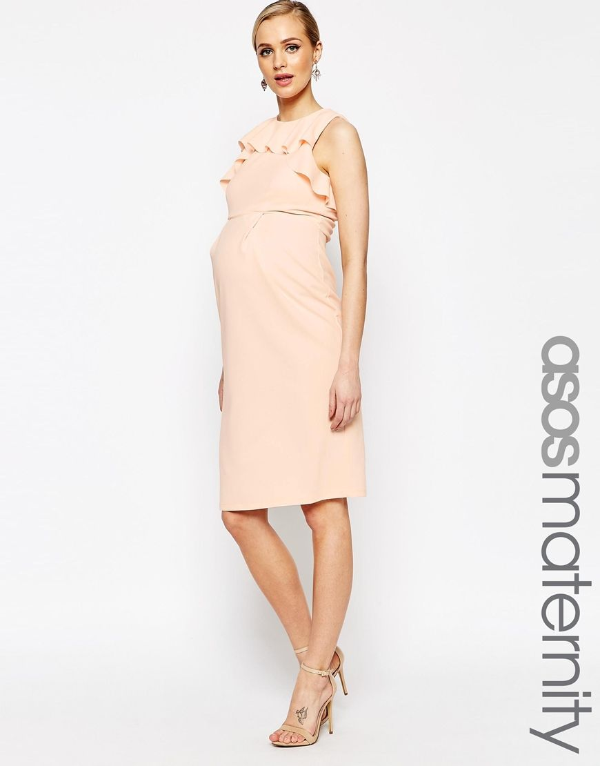 Maternity dresses for weddings  Image  of ASOS Maternity Pencil Dress With Ruffle Detail