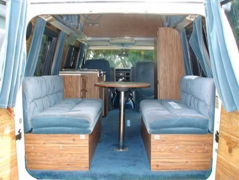 1984 Ford E 150 Used Conversion Van White Blue Stripes Van