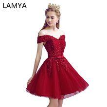 c20185286 Lamya Sexy de Encaje Rojo Longitud de La Rodilla Elegante Vestidos de Baile  2018 las nuevas Mujeres Llegadas Rebordeando Una Línea Vestido de Noche Del  ...