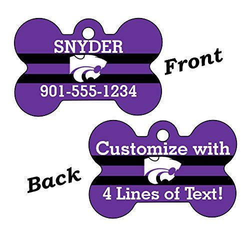 Kansas State Wildcats Double Sided Pet Id Dog Tag Personalized With 4 Lines of Text