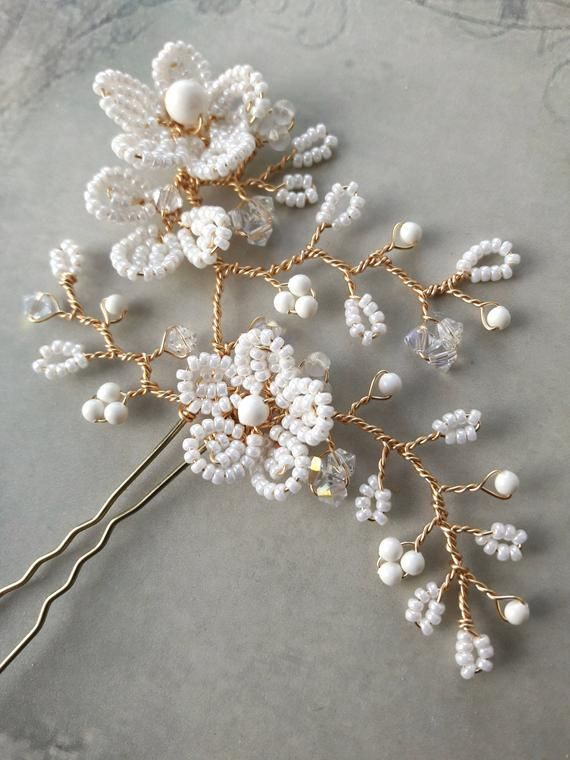 Ivory cream flower bridal hair pin, Wedding, Swarovski pearls, French beaded flower, Bridesmaid, Headdress, Hair accessory, Bun pin - #accessory #Beaded #Bridal #Bridesmaid #bun #Cream #flower #French #hair #Headdress #Ivory #pearls #Pin #Swarovski #Wedding #brautblume