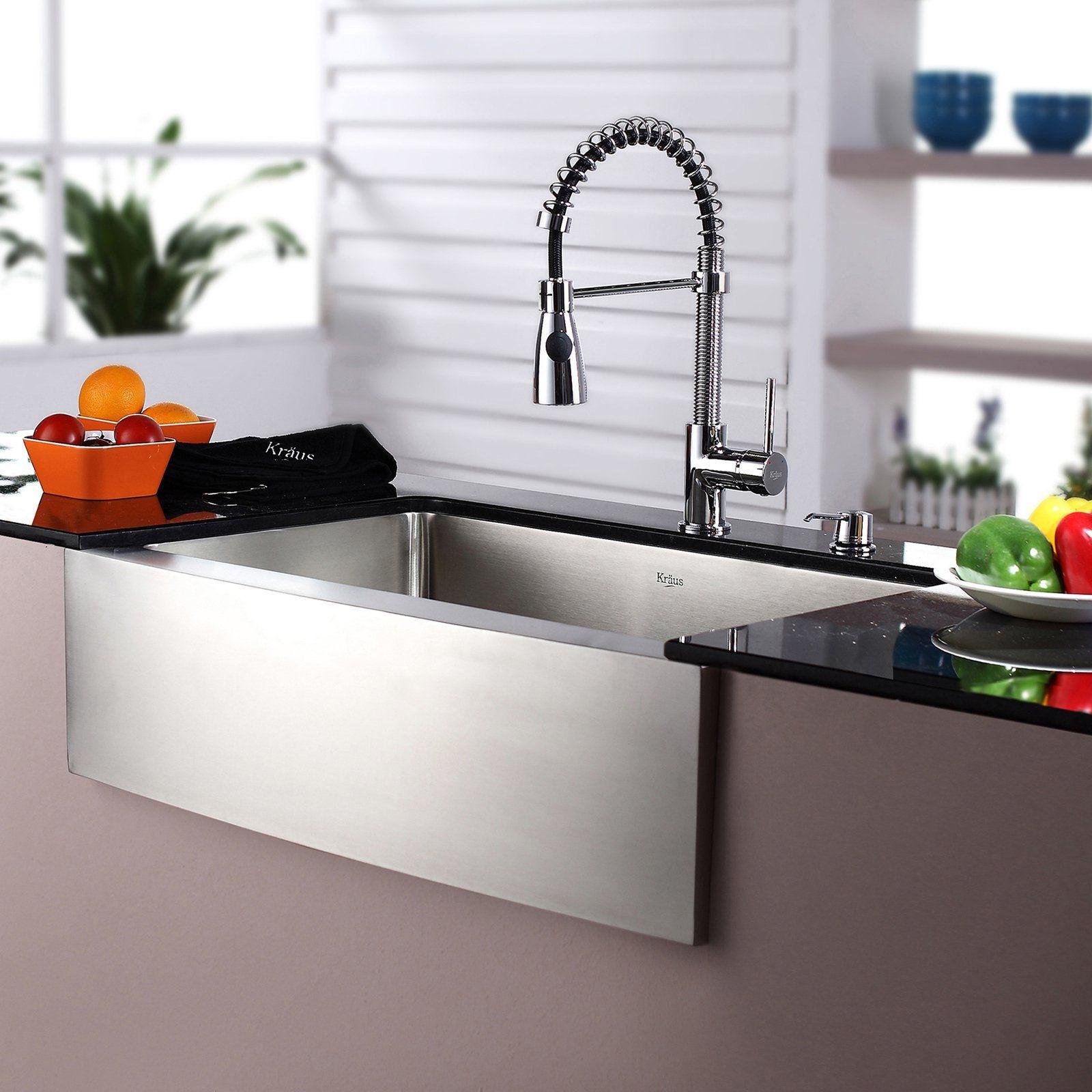 Kraus Khf200 30 Kpf1612 Ksd30ch Single Basin Farmhouse Kitchen Sink With Faucet Khf200 30 K Kitchen Sink Remodel Farmhouse Sink Kitchen Chrome Kitchen Faucet