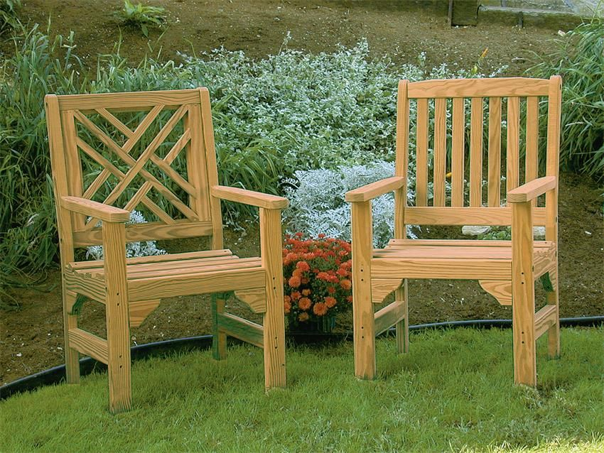 Photo of Amish Pine Wood Chippendale Garden Chair