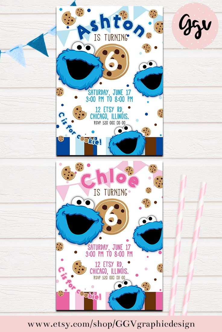 COOKIE MONSTER INVITATION, sesame street, Cookie Monster party ...