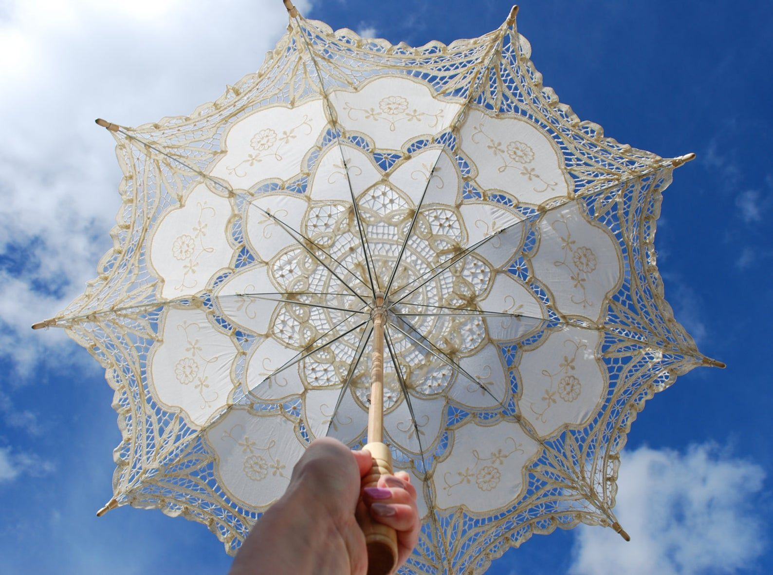 "Lace parasol, lace umbrella, 30"", Victorian parasol ..."