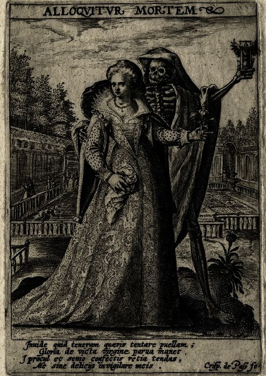 A woman with Death / Mors Loquitur and Alloquitur Mortem Print made by Crispijn de Passe the elder  1600 (circa)