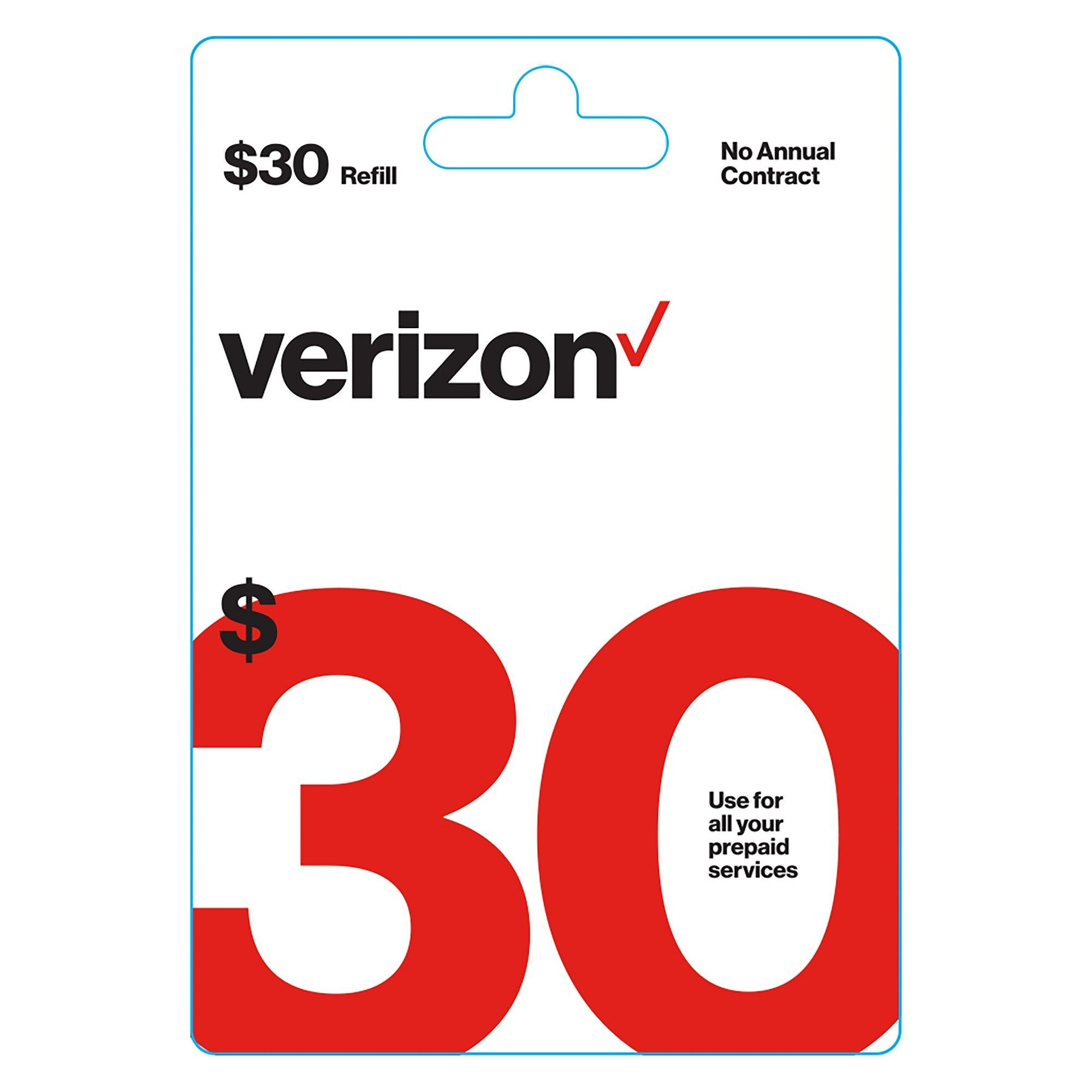 Verizon Wireless 30 Prepaid Refill Card (email delivery