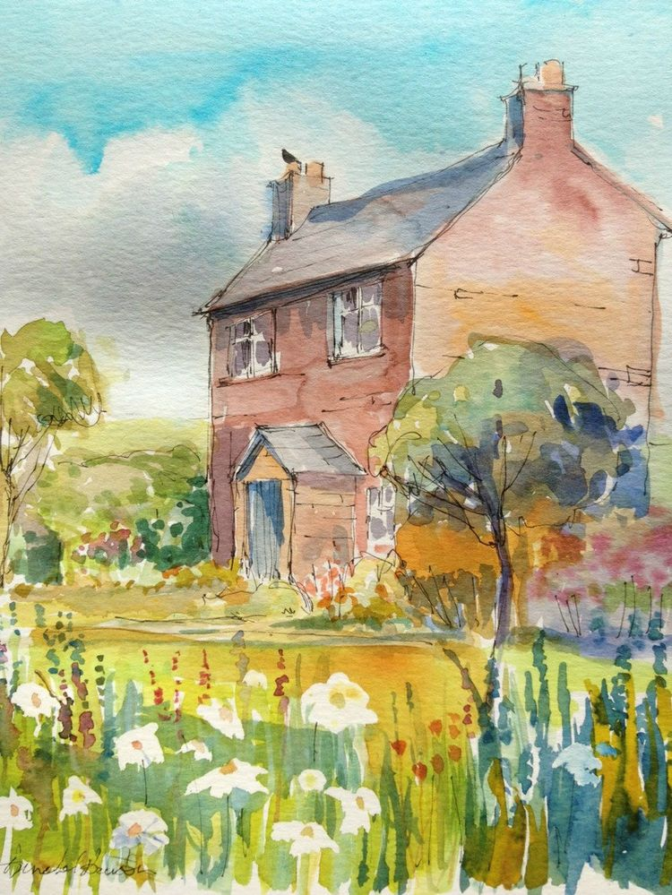 Original watercolour painting cottage garden signed for Watercolor cottages