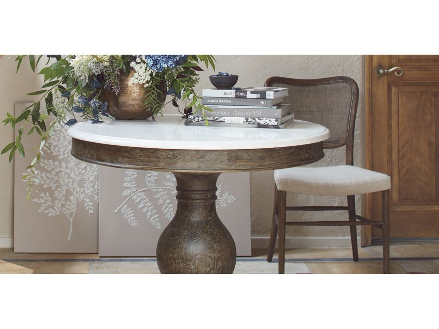 Luca 38 Or 48 Round Dining Table With White Marble Top In