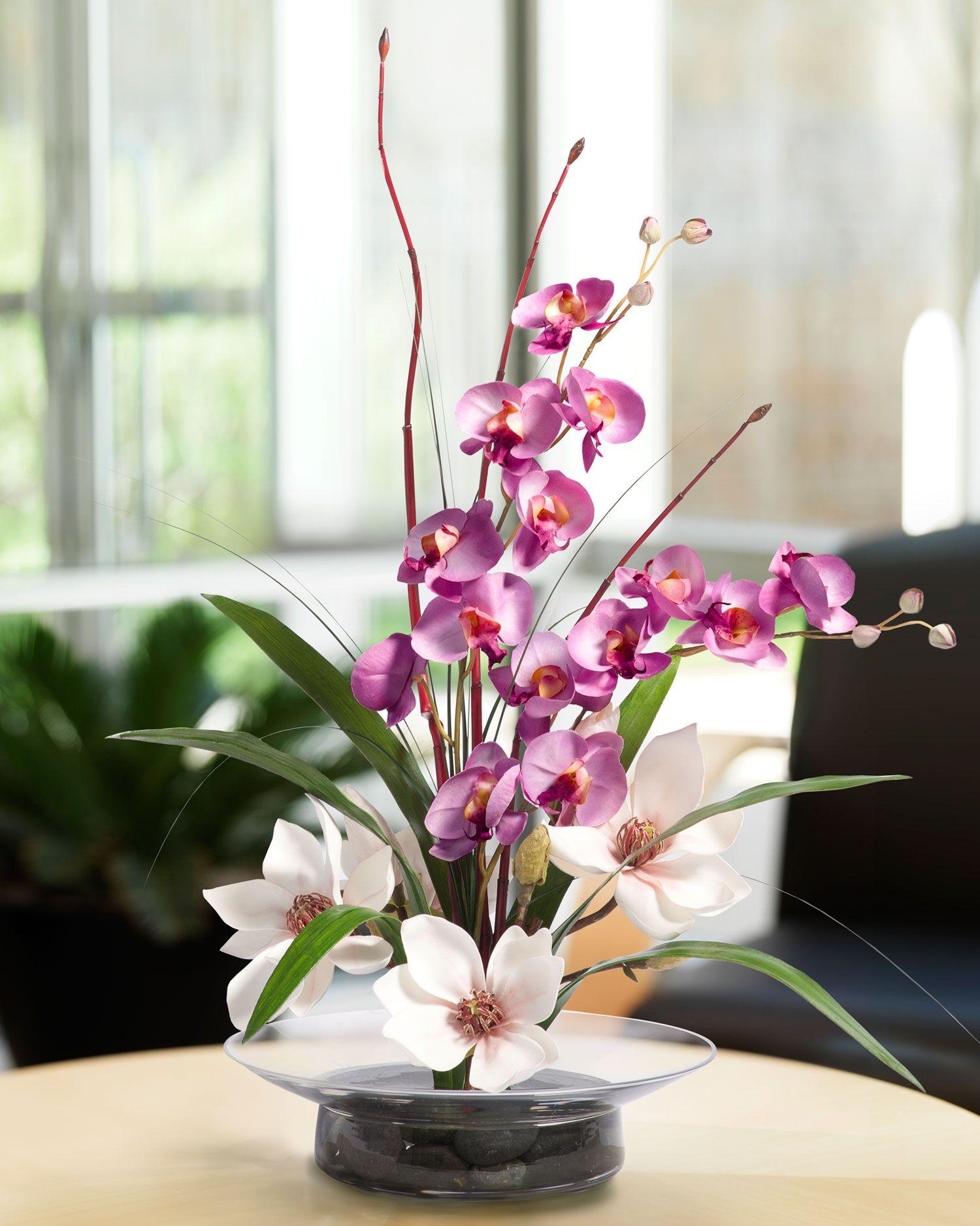 magnolias & orchids silk flower arrangement | pin cushions