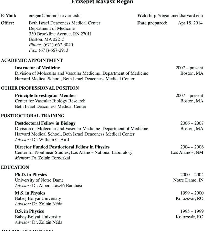 Cv template medical school harvard medical school
