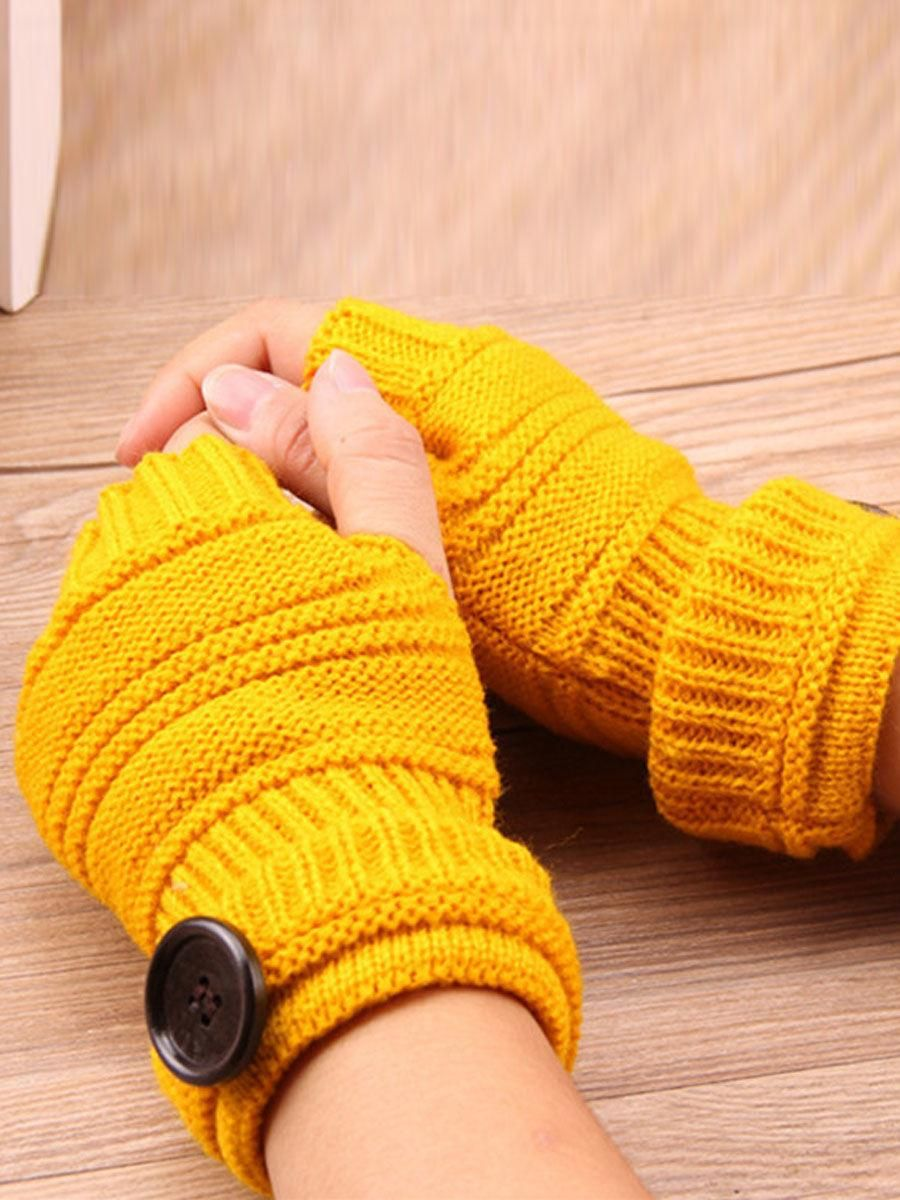 #AdoreWe #Fashionmia Womens - Fashionmia Knitted Half Finger Winter Gloves  Soft Warm Flip Fingerless Mitten - AdoreWe.com