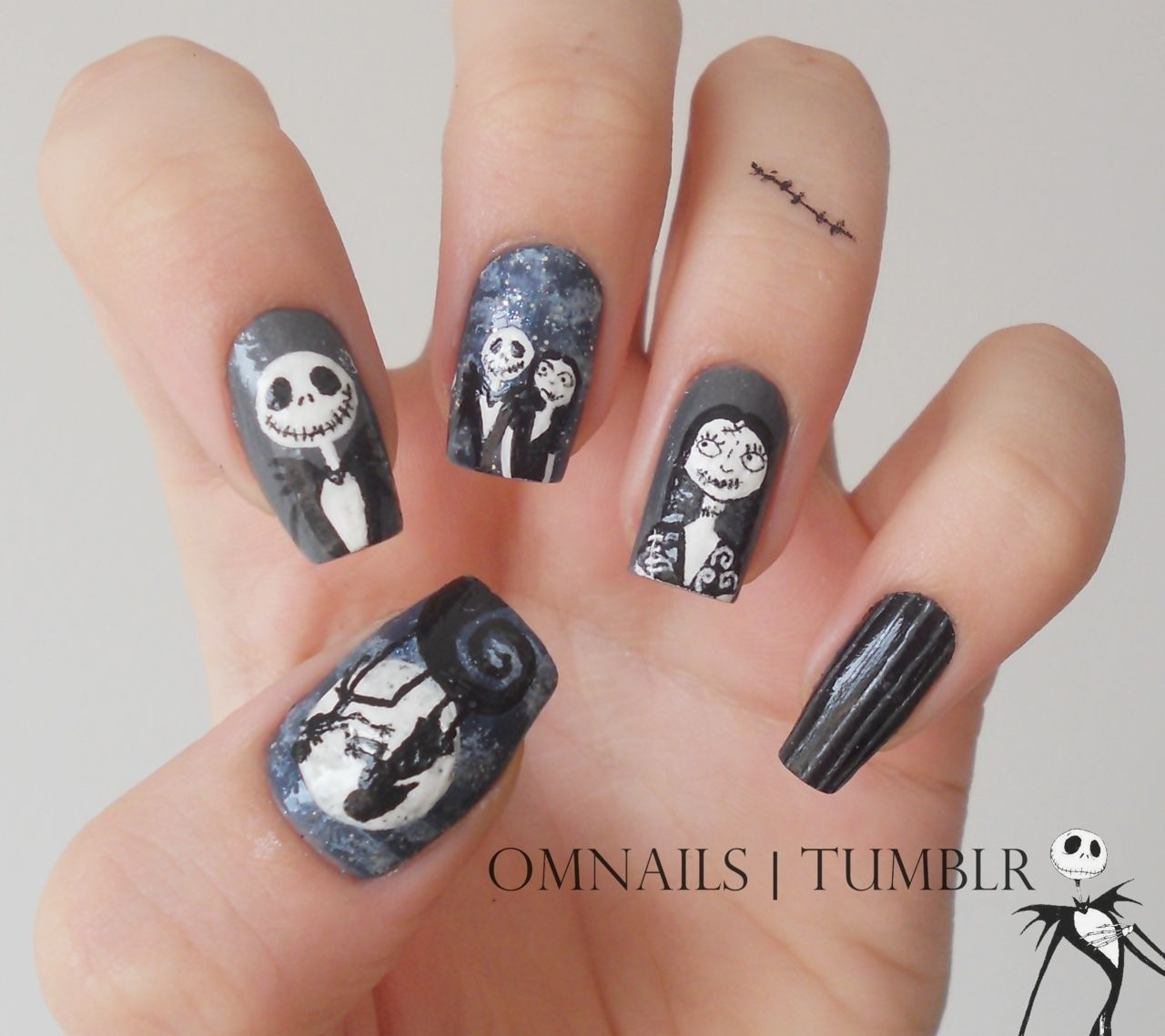 Silver / Black / White / Grey nail polish - Nightmare Before ...