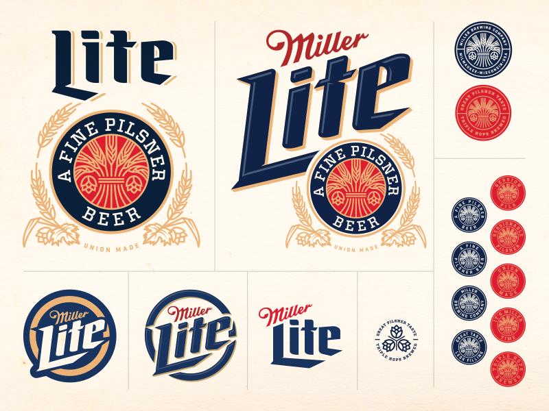 Miller Lite Concept Beer Logo Design Typographic Logo Badge Design