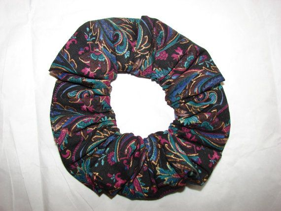 PURPLE Blue Black Paisley Fabric Hair Scrunchies by coloradocntry