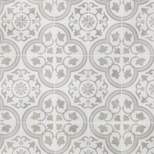 Sintra Ornate 9 X 9 Porcelain Field Tile In Matte Silver Wall Tiles Bathroom Floor Tiles Tiles