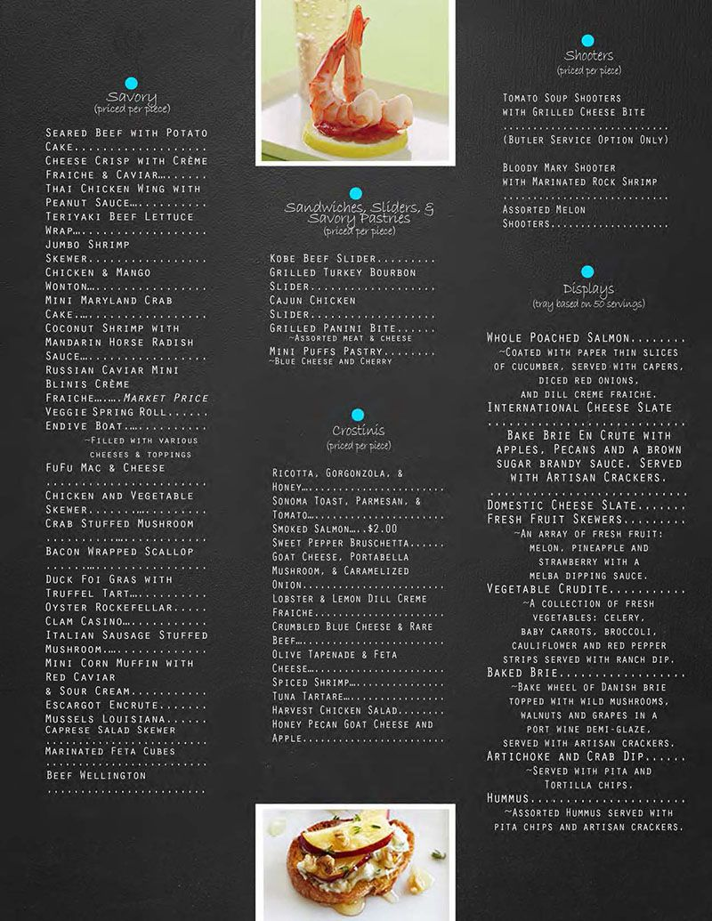 White apron catering menu - Catering Menu Event Wedding Reception Party Meeting