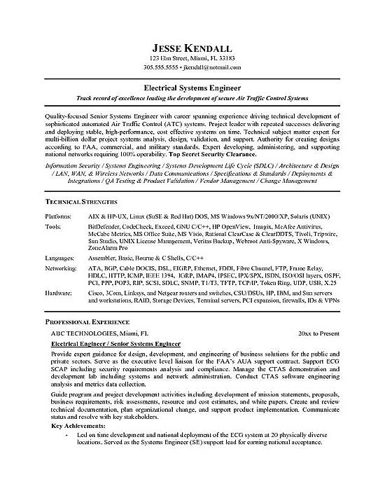 Electrical Engineer Resume Template -    wwwresumecareerinfo - technician resume example
