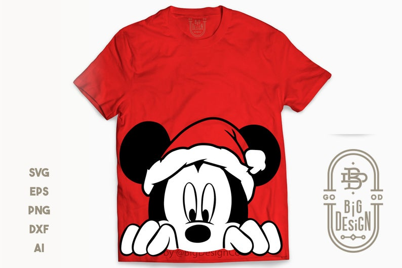 Mickey Mouse with Santa Hat SVG Merry Christmas Svg Disney