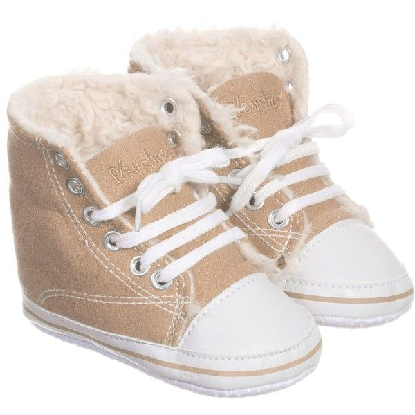Playshoes Beige Lace-Up Fur Lined Pre-Walker Trainers ($15) ❤ liked on Polyvore featuring baby and baby shoes