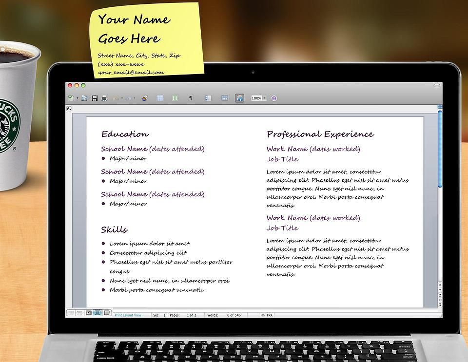 Laptop - resume template standard