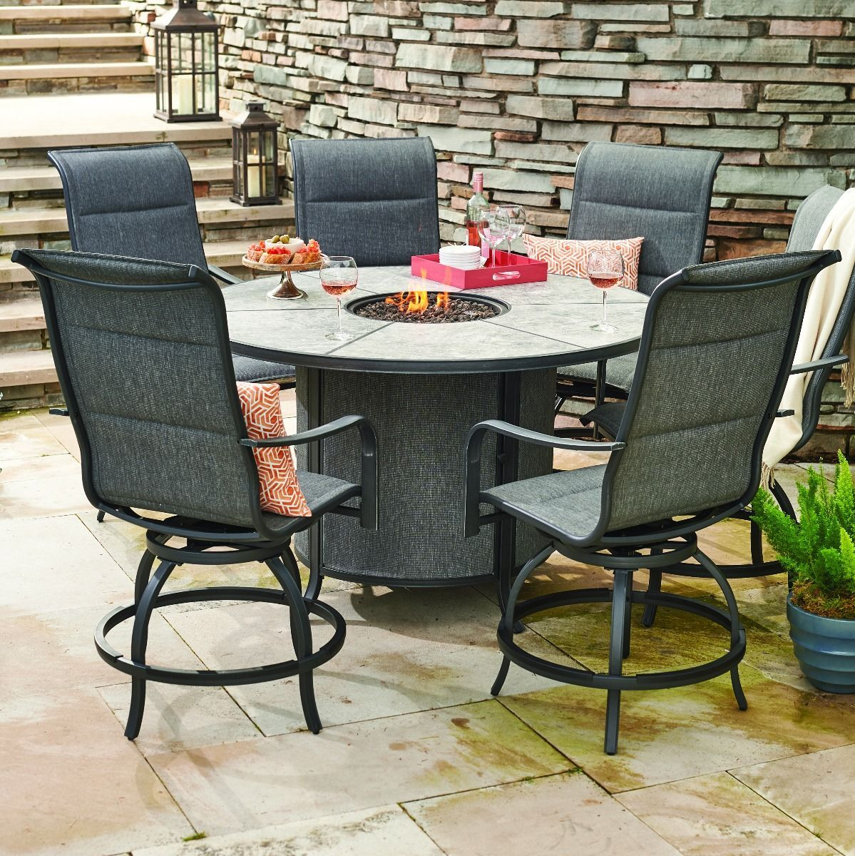Avellino Fire Pit Counter Height Chair Patio Dining Set Rustic