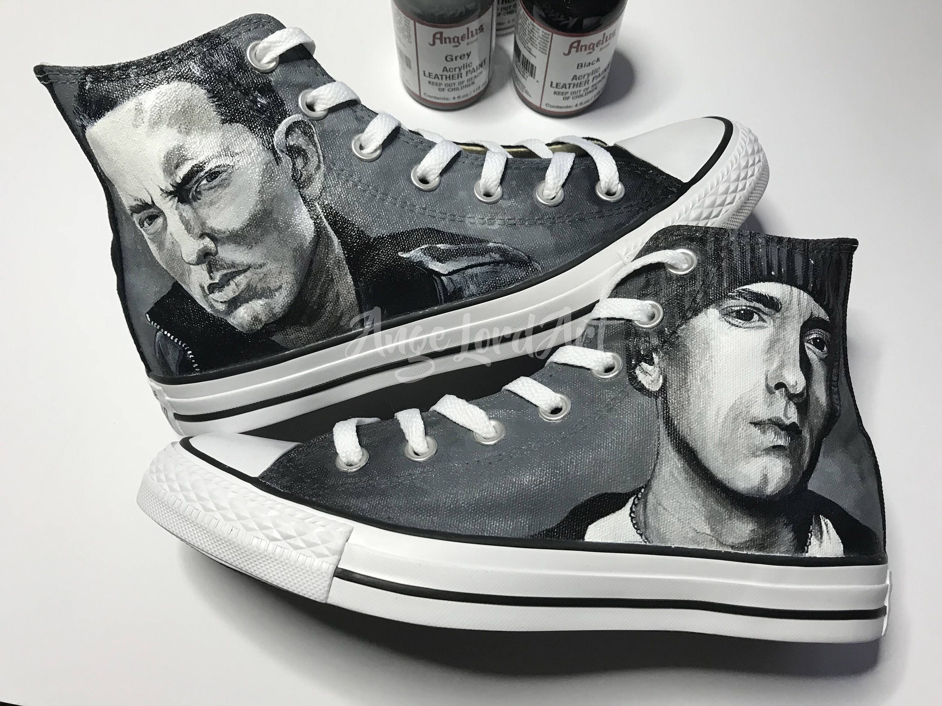 224f8a85a3ca Excited to share this item from my  etsy shop  Custom Painted Eminem inspired  Converse Hi Tops   Vans shoes sneakers.