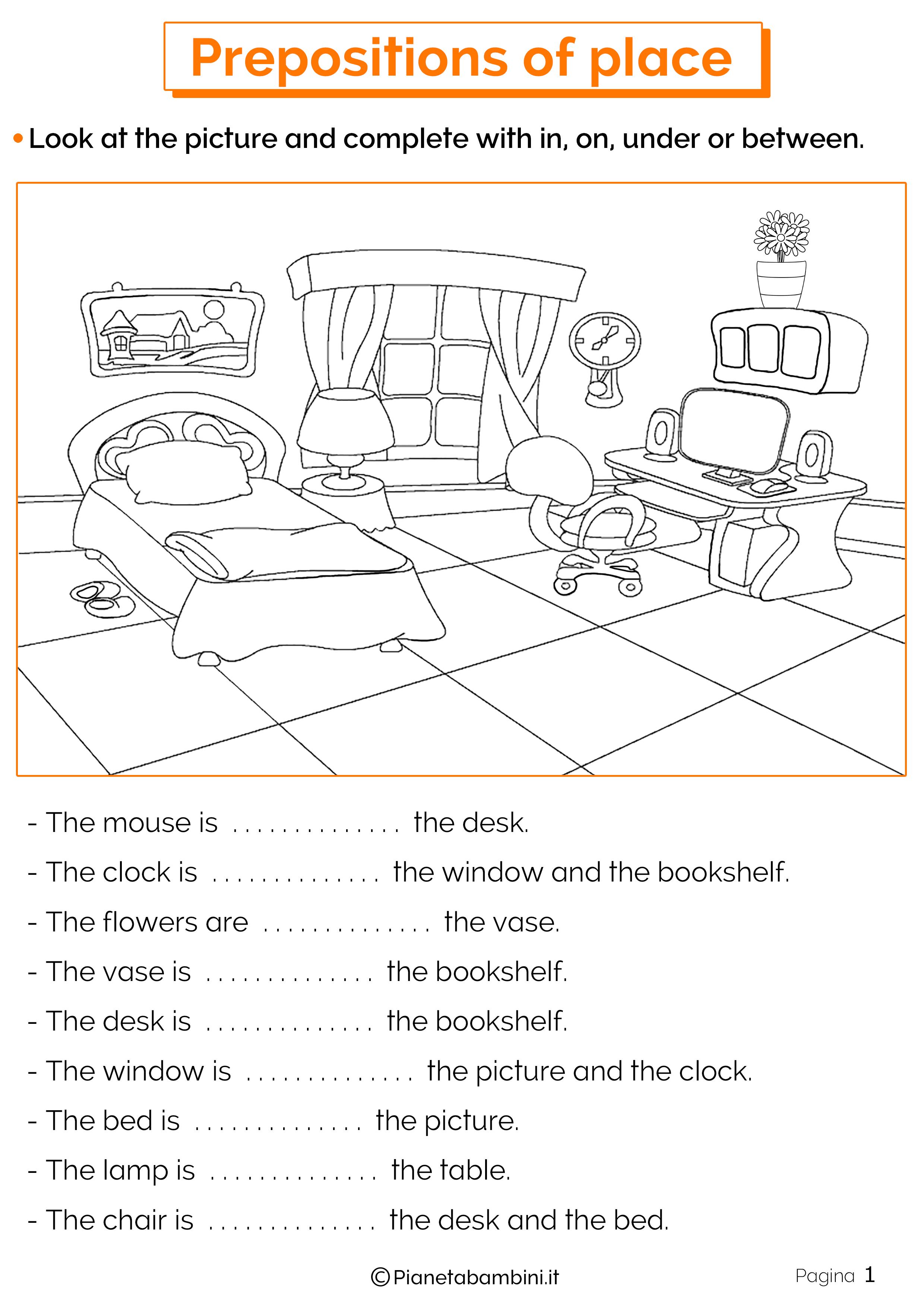 Schede Didattiche Sulle Preposizioni Di Luogo In Inglese