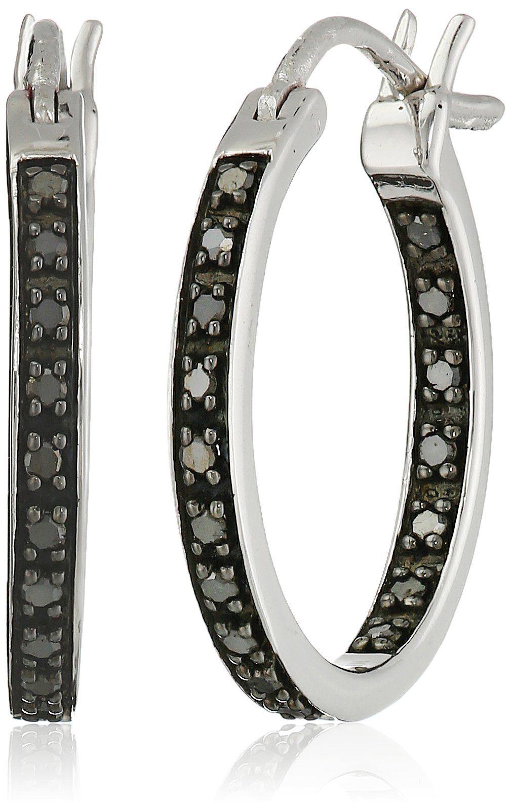 Sterling Silver Black Diamond Inside Out Hoop Earrings 1 4