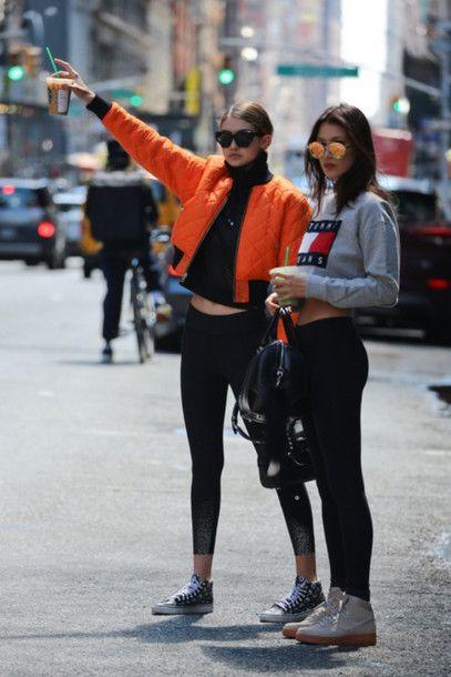 9509530ccb0a3 Jacket: bomber jacket, athleisure, cropped sweater, grey sweater, tommy  hilfiger, orange, celebrity, celebrity style, gigi hadid, bella hadid, black  ...
