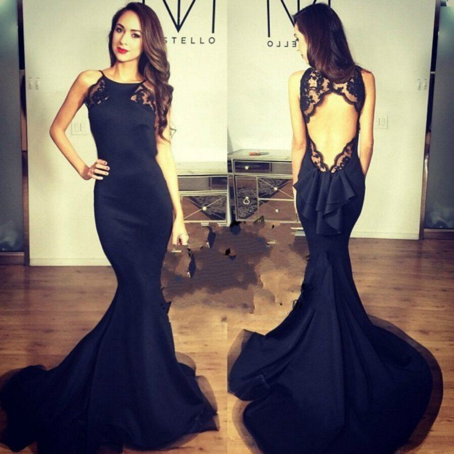 Sexy Open back Black Mermaid Evening Prom Dresses Long Fish Tail