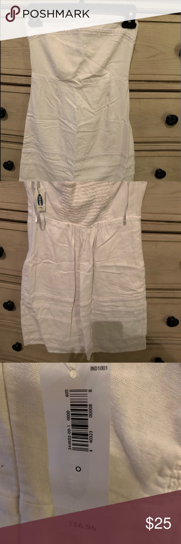 White Dress Perfect for a Honeymoon or any beach vacation! Strapless white dress with beautiful detail. New with tags - never worn! Dresses Midi #beachhoneymoonclothes
