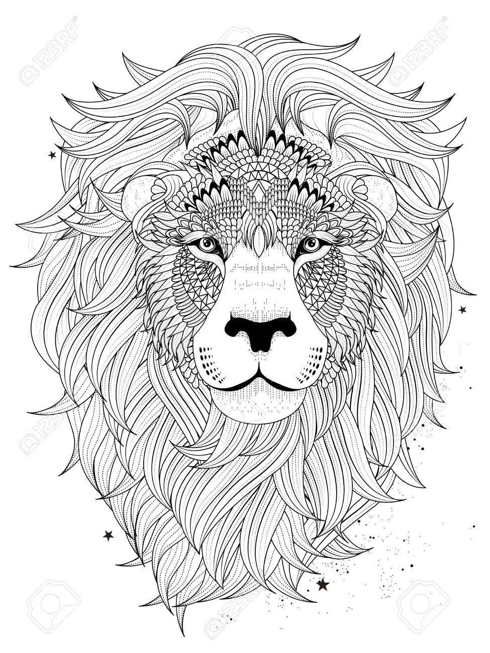 Image result for free lion adult coloring page coloring for Lion mandala coloring pages