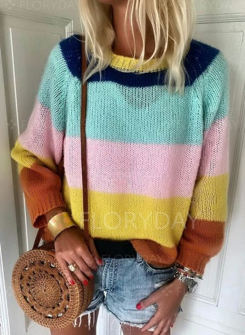 Available Size: S, M, L, XL, XXL Pattern Type: Color Block Decoration: None Material: Wool Neckline: Round Neckline Shown Color: Multicolor Style: Casual Sleeve: Long Sleeve The item does not include any accessories in the picture, unless stated otherwise in the product description.
