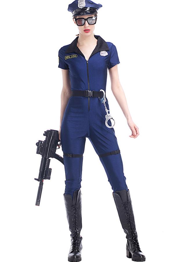 4763ef4790 Women Dark Blue Policewomen Jumpsuit Cop Cosplay Costume - One Size ...